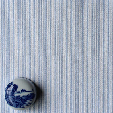 Ticking Stripe cotton linen fabric in Cornflower blue