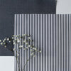 Ticking Stripe cotton linen fabric in Graphite grey