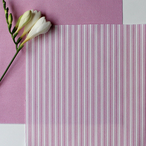 Ticking Stripe cotton linen fabric in Tickled bright pink