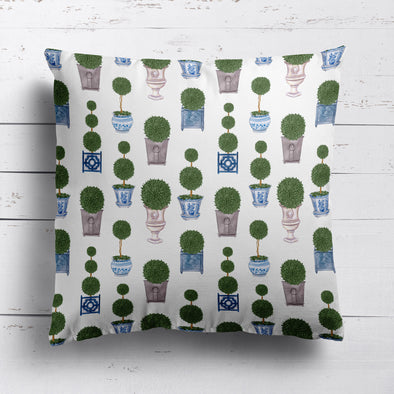 Topiary Tree printed cotton linen cushion