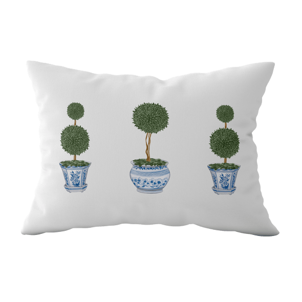 chinoiserie topiary tree rectangle cushion