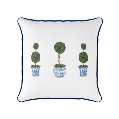 Chinoiserie topiary tree piped square cushion