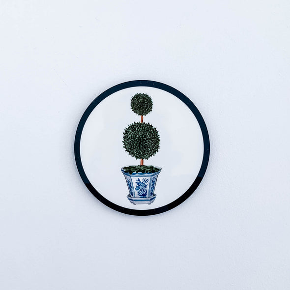 Double topiary in chinoiserie pot drink coaster