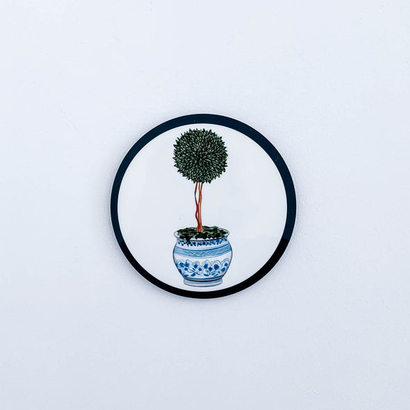 Single topiary in chinoiserie pot drink coaster