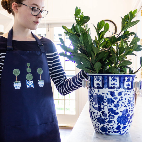 Navy Topiary Tree Apron