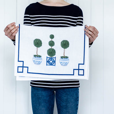 Pretty Topiary Tree Linen Tea Towel
