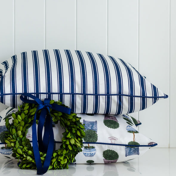 Topiary Tree and Regatta Stripe Cushion