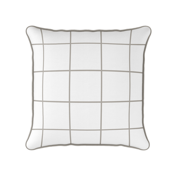 Modern Check taupe piped cushion