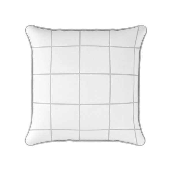 Modern Check dove grey piped cushion