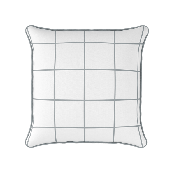 Modern Check grey piped cushion