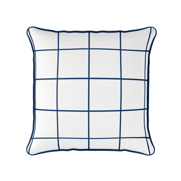 Modern Check navy blue piped cushion