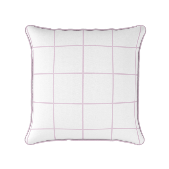 Modern Check pink piped cushion