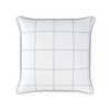 Modern Check light blue piped cushion