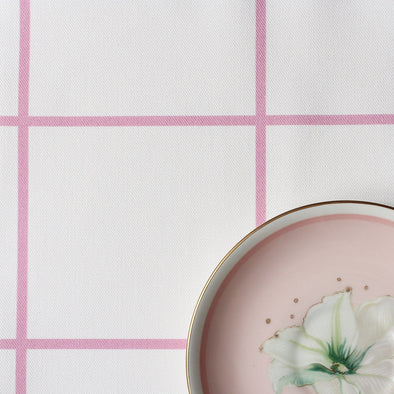 Window Pane Check Fabric - Tickled Pink
