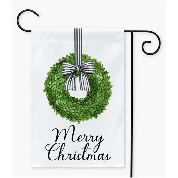 Merry Christmas Boxwood Wreath Garden Flag | Yard Flag
