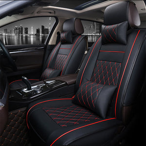 Universal Leather Car Seat Covers Black Red