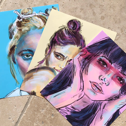 Moody Chicks set of 3 prints