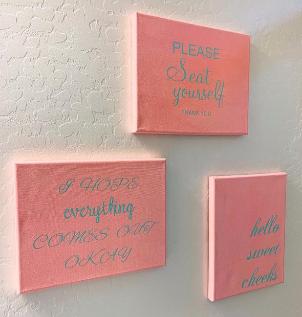 Funny Bathroom Quotes on Canvas