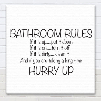 Bathroom Rules - Canvas Sign