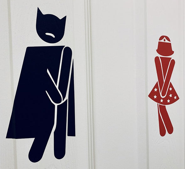 Batman Wonder Woman Bathroom Decal