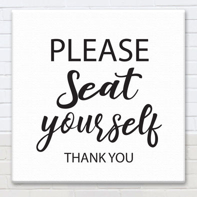 Please Seat Yourself - Bathroom Canvas Sign - Different Trends