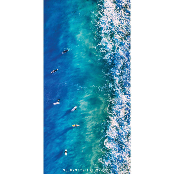 Blue Boards | Birds eve view of surfers waiting for their next wave. A generic design that is sure to connect with all surfers and ocean lovers!