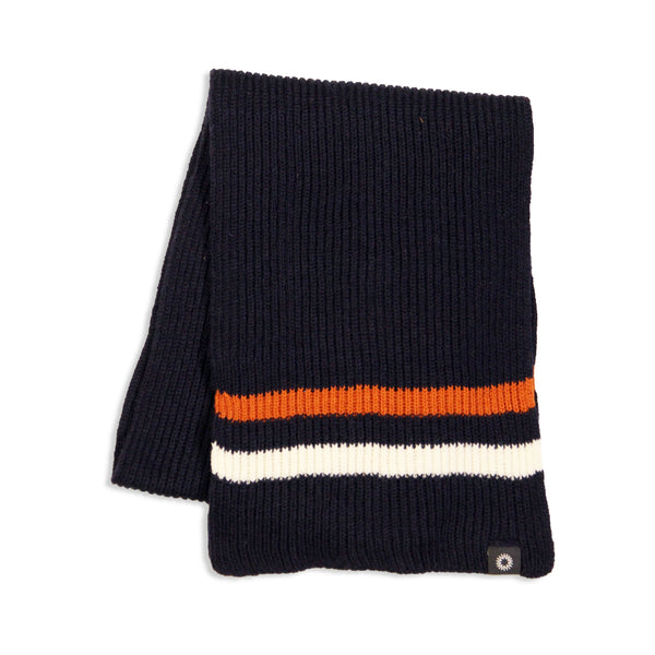 Shackleton striped merino wool scarf in navy, orange and grey