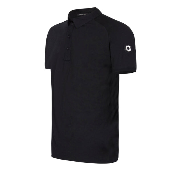 Shackleton buttoned Sears Performance black polo shirt