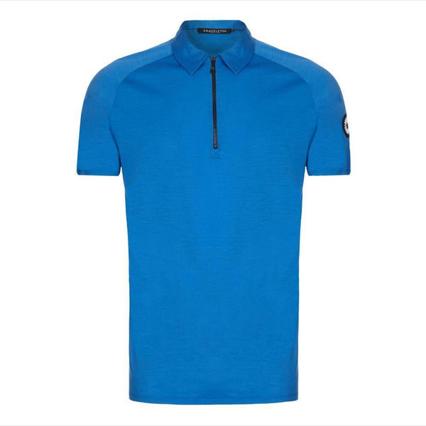 Zip style Rudd Performance polo shirt in blue by Shackleton