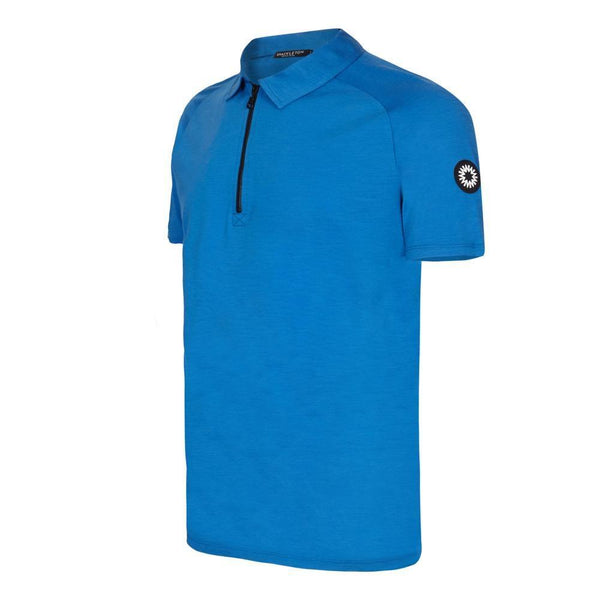 Rudd Performance polo shirt in blue with zip by Shackleton