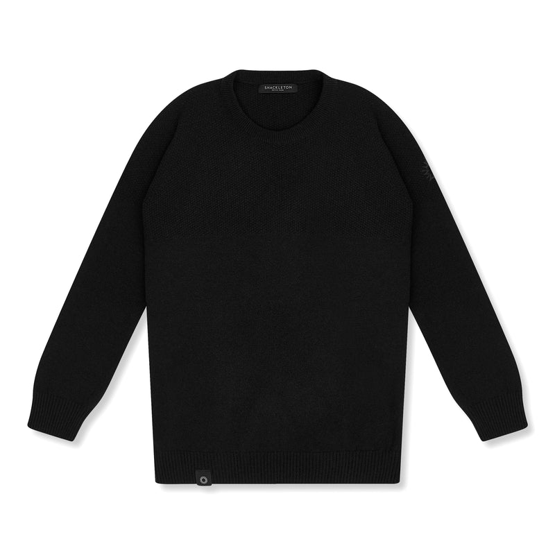 The lightweight lambswool Dulwich sweater by Shackleton in Black