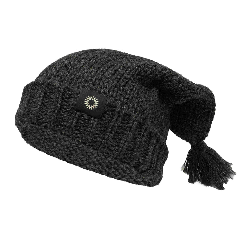 Charcoal crewman wool hat with tassels