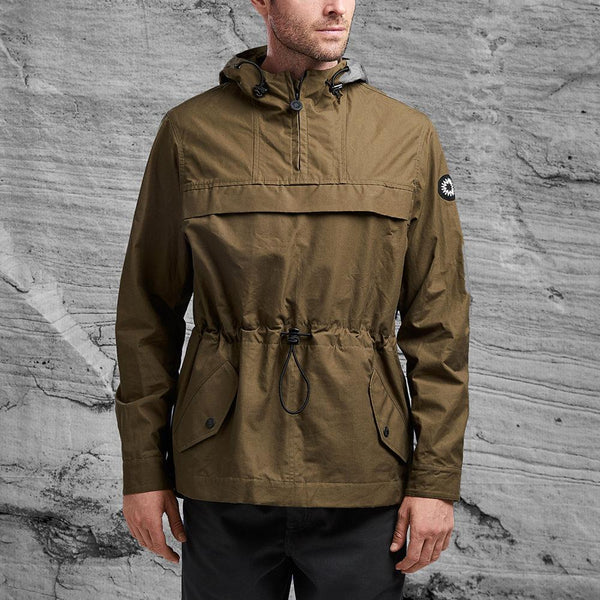 Front view of khaki Kane jacket from Shackleton