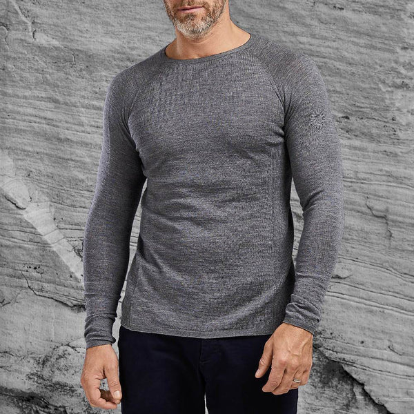 Light grey Shackleton Nelson lightweight wool crew neck sweater
