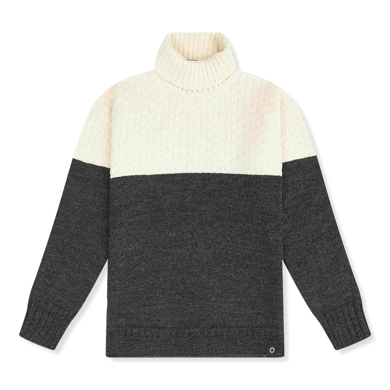 Cream/Charcoal lambswool Signature Sweater