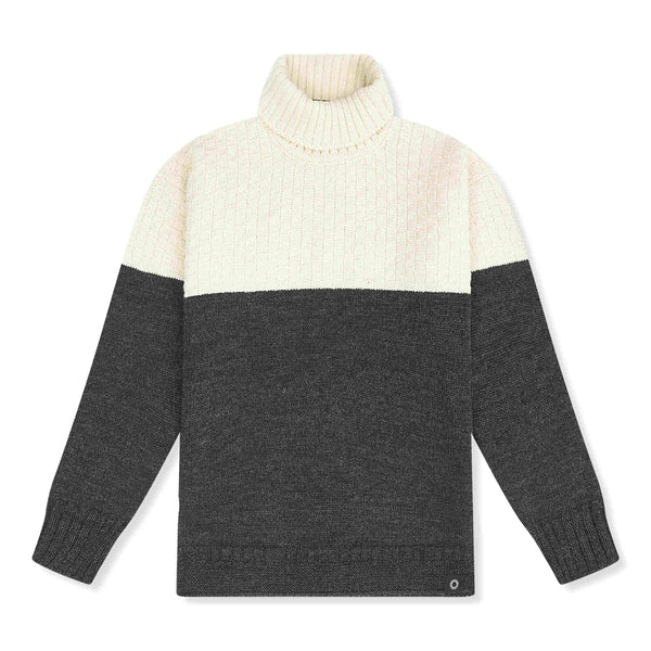 Cream and charcoal Signature sweater