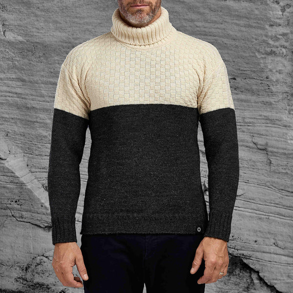 Cream and Charcoal Signature Sweater from Shackleton