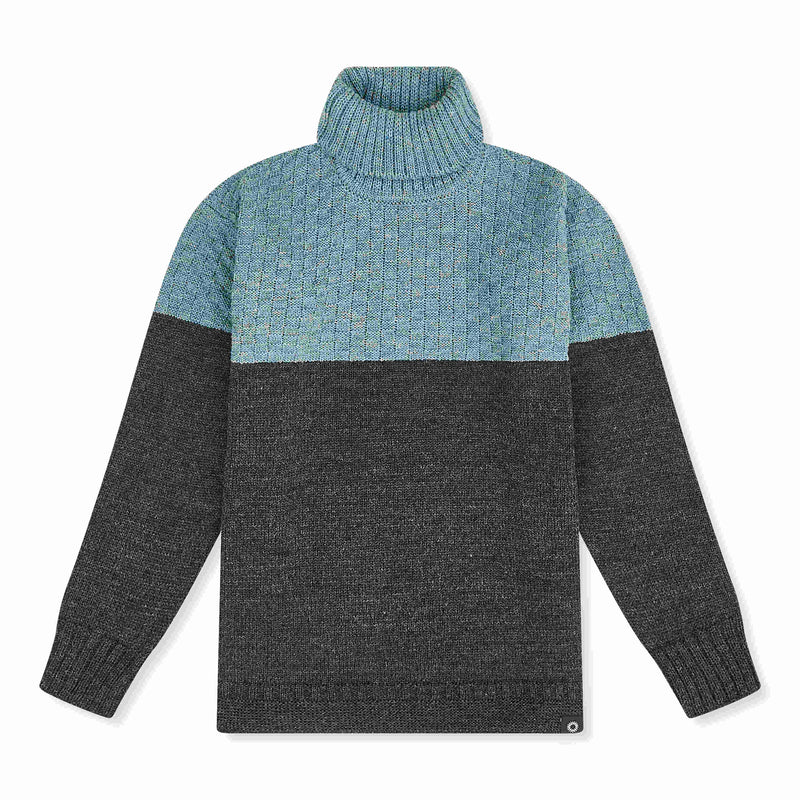 Light Blue/Charcoal lambs wool Signature Sweater