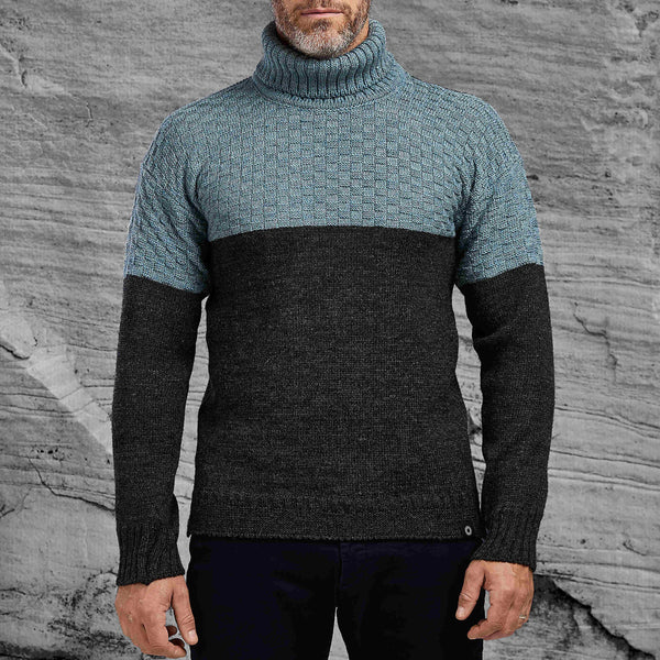 Light blue and charcoal grey Signature turtleneck sweater from Shackleton