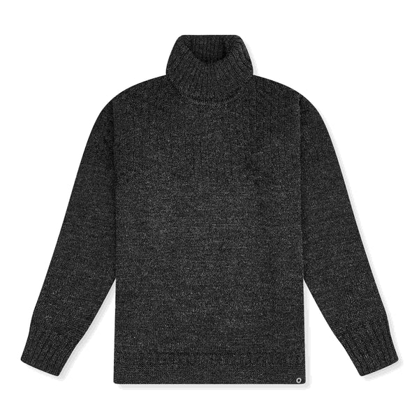 Shackleton Signature Lambswool Roll Neck Sweater | Charcoal
