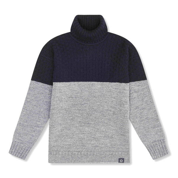 Shackleton Signature Lambswool Roll Neck Sweater | French Navy/Charcoal