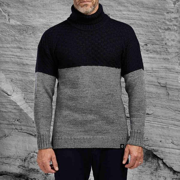 Thick wool Signature roll neck sweater from Shackleton in navy and grey