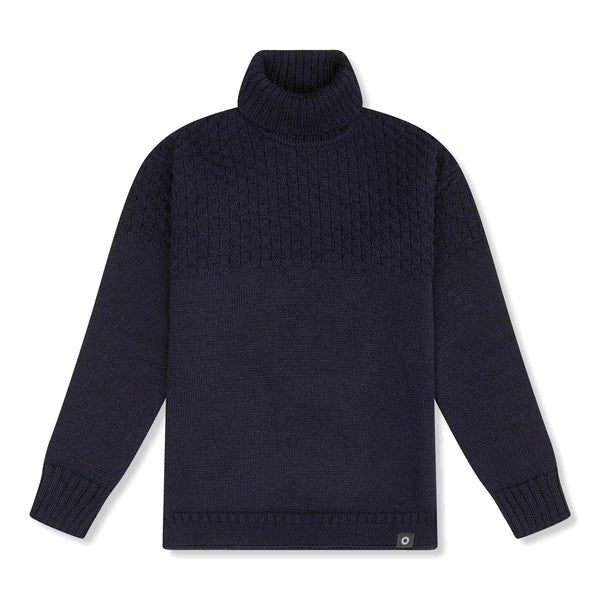 Shackleton Signature Lambswool Roll Neck Sweater | Navy