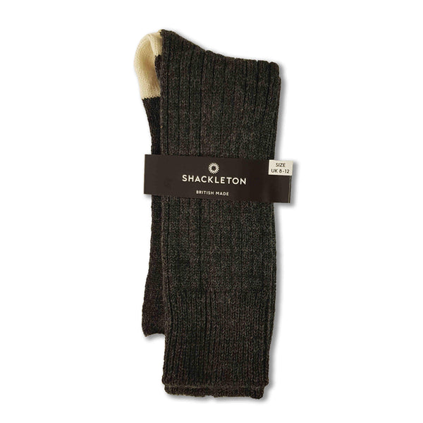 Wool boot socks in charcoal and cream
