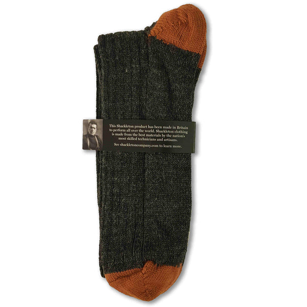 Woolen socks in charcoal and burnt orange