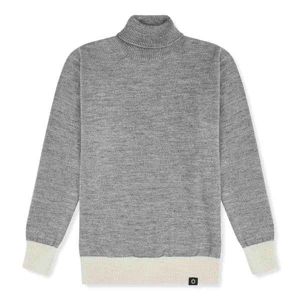 Grey and white Submariner turtleneck sweater