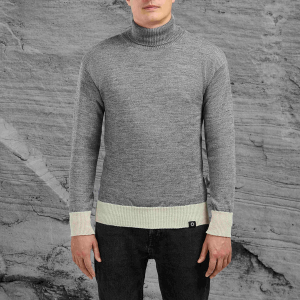 Shackleton light grey Submariner roll neck style wool sweater