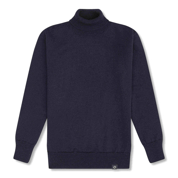 Shackleton Submariner Lambswool Roll Neck Sweater | Navy Blue