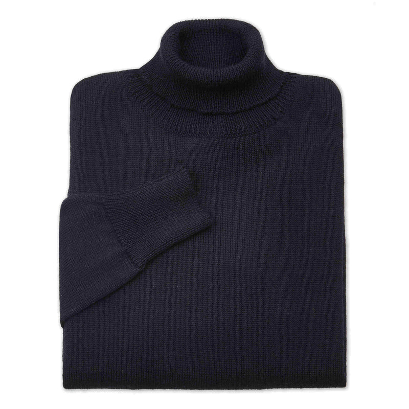 Shackleton Submariner Lambswool Roll Neck Sweater | Navy