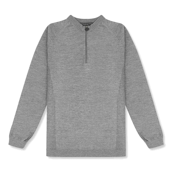 Light grey merino wool half-zip sweater